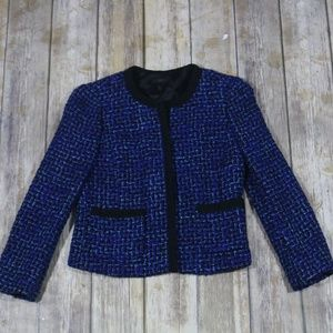 J. Crew Lady Jacket in Blue Tweed 25606 Cropped